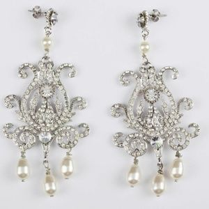 Runway Rhinestone and Faux Pearl Chandelier Earrin